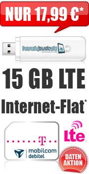 Internet-Flat LTE 15 GB mit Telekom green Data XL LTE 17.99 Aktion Vertrag! bestellen