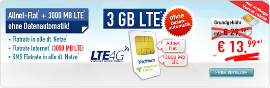 real Allnet Flat LTE 3 GB 13,99 €