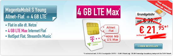 MagentaMobil S Young 21,95 € Aktion