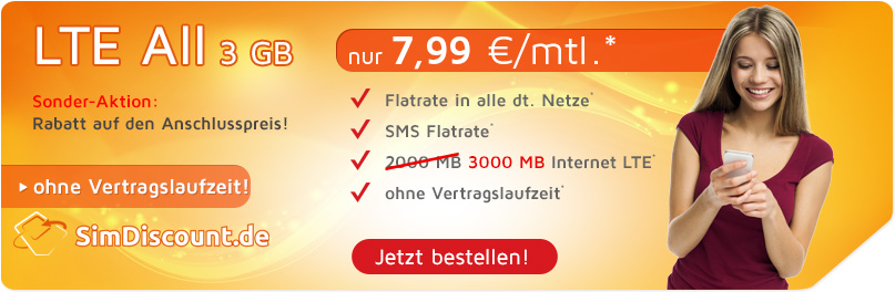 SimDiscount LTE All 3 GB nur 7,99 €