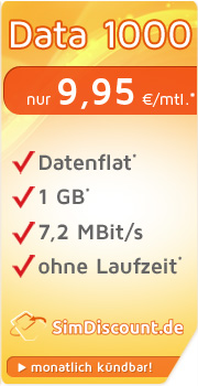 SimDiscount Mobile Data 1000 mit O2 SimDiscount Mobile Data 1000 Vertrag! bestellen