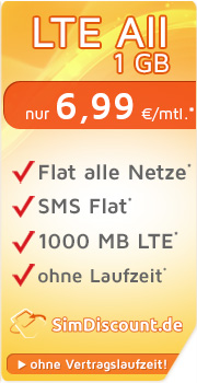 SimDiscount LTE All 1 GB mit O2 SimDiscount LTE All 1 GB Vertrag! bestellen