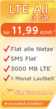 SimDiscount LTE All 3 GB mit O2 SimDiscount LTE All 3 GB Vertrag! bestellen
