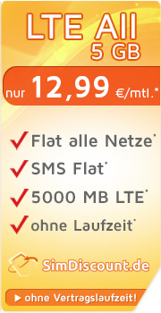 SimDiscount LTE All 5 GB mit O2 SimDiscount LTE All 5 GB Vertrag! bestellen