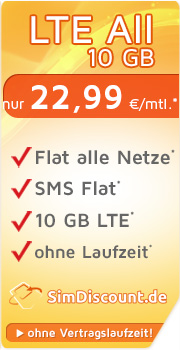 SimDiscount LTE All 10 GB mit O2 SimDiscount LTE All 10 GB Vertrag! bestellen